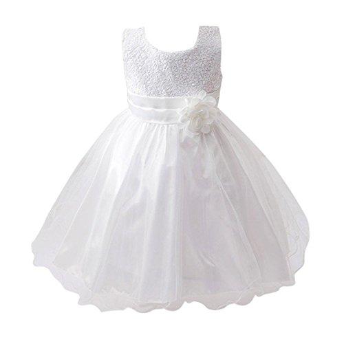 Live It Style It - Abito da principessa senza maniche, con paillettes e fiore, formale, per festa di nozze, damigella d'onore White 2-3 Anni