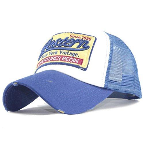 Imagen de ☀️  de béisbol, de verano bordada sombreros de malla para hombres mujeres sombreros casuales hip hop azul  alternativa