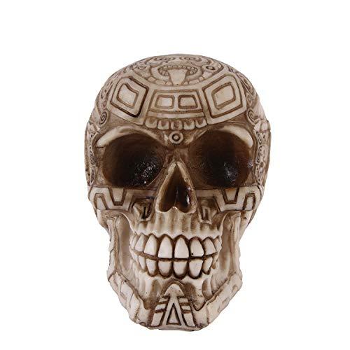 k Maya Tribal Tattoo Schädel Statue Skeleton Cranium Friedhof Spooky Figur Skulptur Halloween Dekor ()