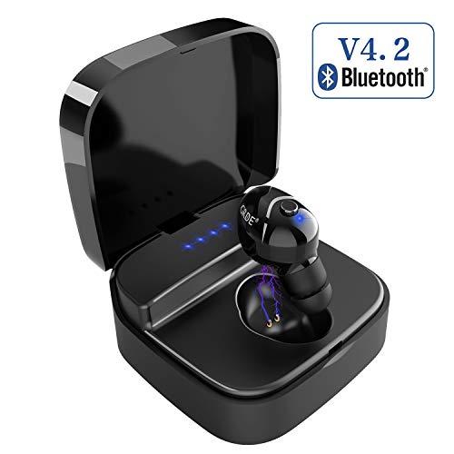 Auricular Invisible Bluetooth, GRDE Mini Auricular Bluetooth 4.2 con Microfono Integrado y Cancelación de Ruido, IPX4 Impermeable In Ear Auricularescon Caja de Carga Portátil, 1 Auricular