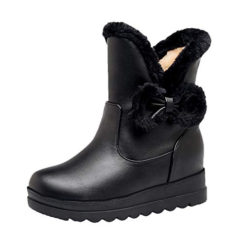 MYMYG Damen Schneestiefel Halbschaft Stiefeletten Frauen Winter Bow Flat Keep Warm Schuh Rutschfeste Kurze Schlauch Martin Boots Warme Plüsch Gefüttert