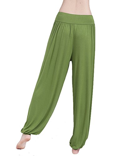 Donna Baggy Harem Pantaloni Solido Colore Aladdin Bloomers Yoga Jogging Sportivi Grass Verde