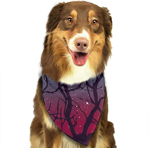 (deyhfef Dog Bandana Christmas Costume Pet Stranger Deer in Forest Woodland Forest Tree Things Scarf Cat Bandana for Christmas)