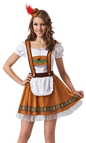 Ladies Sexy Brown German Beer Girl Oktoberfest Festival Fancy Dress Costume Outfit UK 10-12-14 (One Size (UK 10-14))