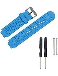 For Garmin Forerunner 620/630/735 , Transer® Moda Correa banda de reloj de silicona suave reemplazo + tetones adaptadores para Garmin Reloj Forerunner 620 / 630 / 735 (Azul)
