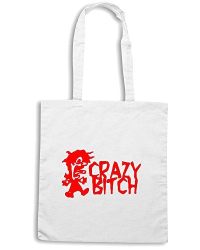 T-Shirtshock - Borsa Shopping FUN0362 478 crazy bitch vinyl decal 62393 Bianco