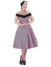 H&R 50s DOLORES Polka Dots Punkte Carmen SWING Dress KLEID Rockabilly