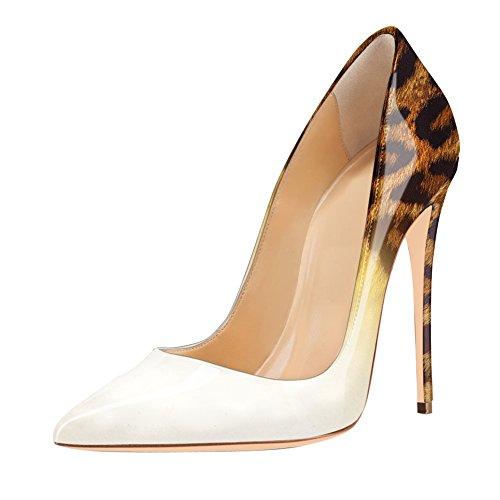 Damen Pumps High-Heels Stiletto Glitzer Lackleder Gradient Leoparden Weiß