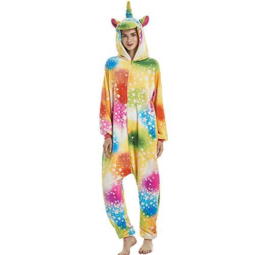 Yimidear Pyjama Erwachsene Einhorn Kostüm Tier Plüsch Einhorn Onesie Flanell Cosplay Kostüm Halloween für Erwachsene und Jugendliche (L, Mehrfarbig)