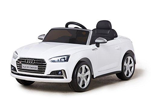 ES-TOYS Kinderfahrzeug - Elektro Auto Audi S5 - lizenziert - 12V7AH Akku und 2 Motoren- 2,4Ghz Ferngesteuert +MP3 +Ledersitz +Eva (Weiss) (S5 Modell Audi)