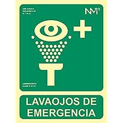 MovilCom® - Señal luminiscente LAVAOJOS DE EMERGENCIA PVC 0,7mm Clase B 224X300mm homologado nueva legislación (ref.RD14109)