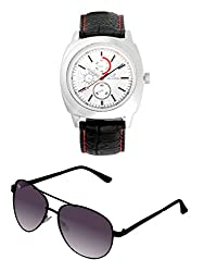 Orlando Casual Chronograph Look Analogue White Dial Black Leather Belt Mens Watch & BIG Tree Heather Purple Color - Gradient UV Protected Aviator Sunglasses Goggles Combo Set