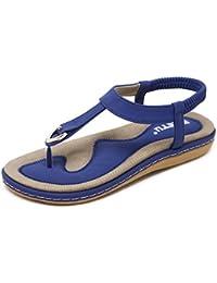 KUONUO Sandalias Mujeres Bohe Rhinestone Moda Plano Talla Grande Bohemia Sandalias Casuales Zapatos de Playa Sandalias Romanas Chanclas de Damas