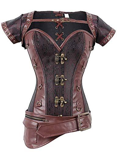 FeelinGirl Damen Korsett mit Stahlstäbchen - Brokatmuster - Retro/Gothic/Steampunk-Stahl ohne Knochen, Braun 2, L(EU - Viking Kostüm Bilder