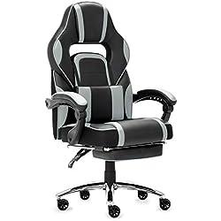 IntimaTe WM Heart Racing Chaise de Gamer Ergonomique Fauteuil de Bureau Siège Baquet Gaming avec Repose-Pied Pliable (Gris)