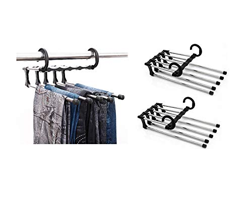 BYM 2 Stück Mehrfach Hosenbügel Platzsparende Magische Raumsparbügel für Kleidung Jeans Schal Handtuch und Tie aus Edelstahl Schwarz Weiß (Schwarz)