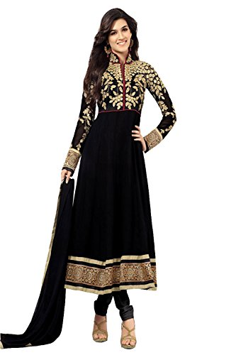 Clickedia Women's Heavy Georgette Semi-stitched Black Embroidered Floor Length Anarkali Suit - Dress Material  available at amazon for Rs.499