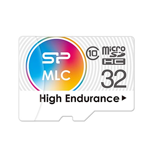 Silicon Power 32GB High Endurance MLC MicroSDHC Memory Card, Ideal for Dash Cam and Security Camera, with Adapter  Model SP032GBSTHIU3V10SP