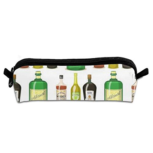 Apron bags Portable Pencil Case Strong Drinks Bottles Cartoon Glasses Whiskey Cognac Brandy Wine Pen Bag Cosmetic Pouch Zipper for School -
