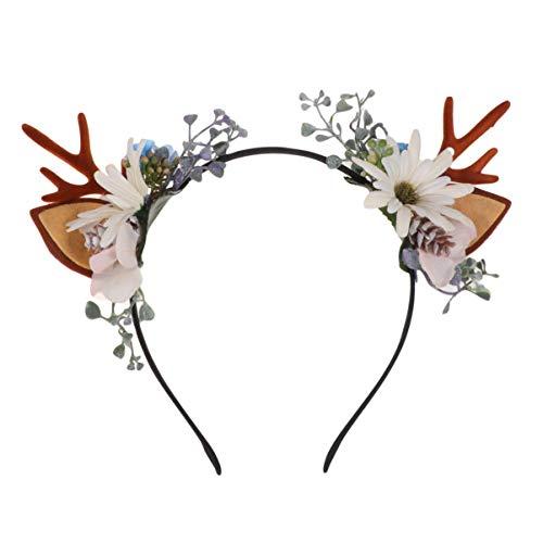 Minkissy Weihnachts-Geweih Stirnband Rentier Ohren Haarreif Weihnachten Blume Haarband Weihnachten Party Kopfstück für Frauen Mädchen (Muster 1)