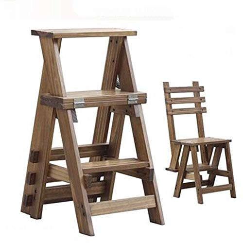 Color : A Step Stools YJLGRYF Step Stool Folding Ladder Stool 3 Steps Solid Wood-Flower Shelf Stand Multifunction Indoor Household Ascend Ladder Small Stool Step Stool Furniture