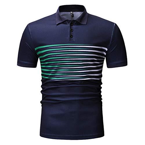 B-commerce Herren Business Tops - Sommer Stehkragen Knopfausschnitt Mode Lässig Kurzarm Dünnes Hemd