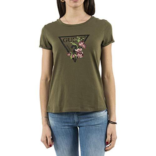 Guess Jeans W92I67JA900 T-Shirt mit kurtzen Ärmeln Damen grün AUFL L