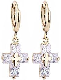 Frauen Gold Silber Elegant Zirkon Ohrstecker Ohrringe mit Kreuz Anhänger