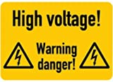 LEMAX® Aufkleber High voltage! Warning Danger! 74x105mm