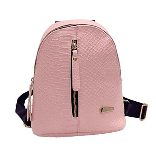 Mochilas de cuero para mujer Bolsas de escuela para adolescentes Bolsa de viaje Bolsa de hombro LMMVP (24cm*20cm*10cm, Rosado)