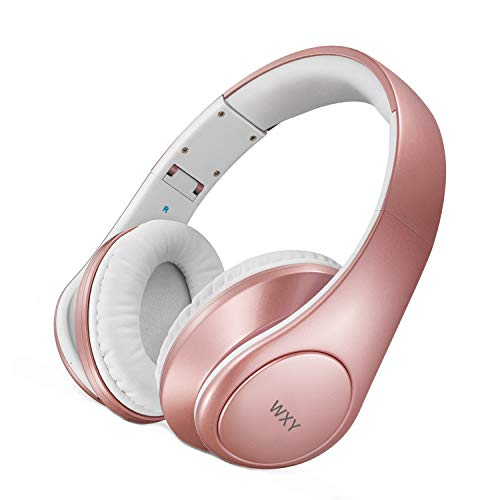 WXY Funkkopfhörer Bluetooth, Ohrhörer mit tiefem Bass, leichtem und faltbarem Hi Fi Stereo Mikrofon, eingebautes Mikrofon, V4.2 25H Wiedergabezeit für Travel TV Computer Telefone Rose Gold Gold Telefon