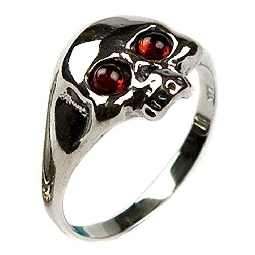 Noda Herren-Ring Totenkopf Honig-Bernstein und Silber 925 Größe 62 (19,7) (Silber Bernstein Sterling Ring 925)
