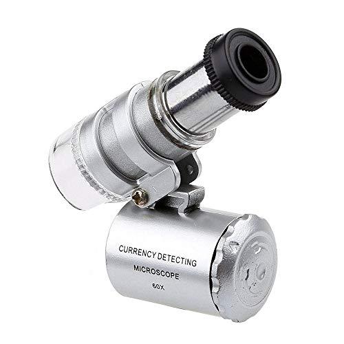 VBWER Mini microscopio 60x Ingrandimento con lente a LED UV Magnifier gioielli tascabile Jeweler Loupe(Argento)