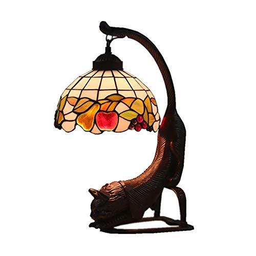 YIAIYW Europäische Tiffany-Stil Tischlampe, Retro-Glasmalerei Lampenmuster, Harzsockel, langlebig, hell und glänzend, fügen Sie Farbe in Ihr Zimmer-A -