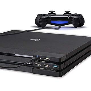 PS4 Pro USB Hub erweiterung 3.0 - ElecGear 5-Port USB Highspeed Verlängerung Extender ladegeraet Adapter Ladestation mit LED-Anzeige für Playstation 4 Pro Konsole
