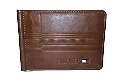 Tommy Hilfiger Mens Leather Money Clipper Eyes Catching Brown Color