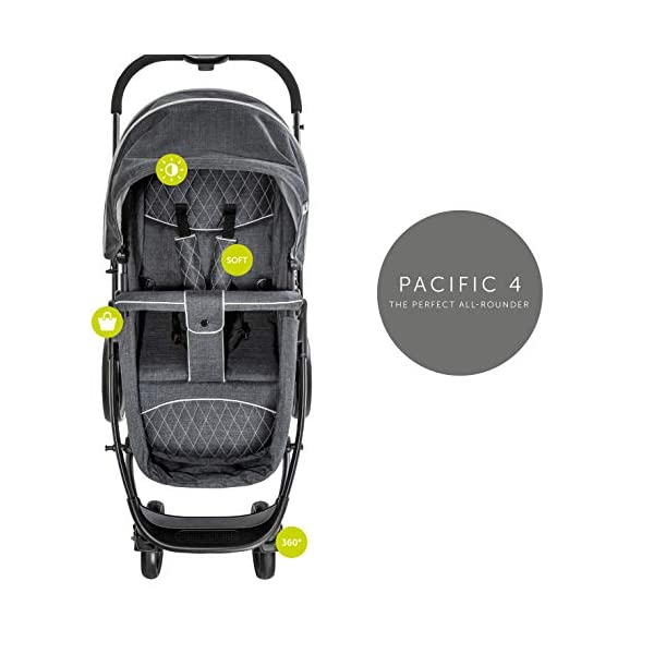 Hauck Pacific 4 Shop N Drive, Lightweight Pushchair Set with Group 0 Car Seat, Carrycot Convertible to Reversible Seat, Footmuff, Large Wheels, From Birth to 25 kg, Melange Charcoal Hauck  18