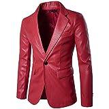 Herren Langarm Leder Bluse Mann Männlich Slim Fit Jacken Botton Taschen Mode Reine Farbe Lässig Einreihig Schnalle Lederkombi Moonuy