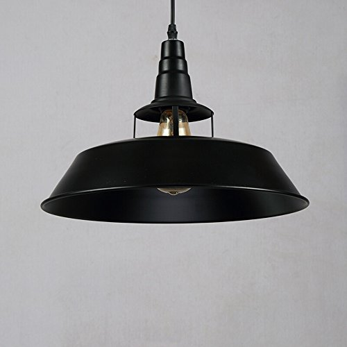 Einstellbare Pendelleuchte Edison Vintage Industrie-Stil Schmiedeeisen Single Head Explosion Proof Lampe Kronleuchter Creative Lighting Fixture E27 Office Restaurant Industrial Wind Kronleuchter Durchmesser 35cm ( Color : Black )