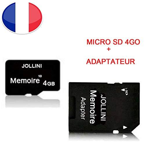 Carte mémoire Micro SD 4 Go Classe 10 + Adaptateur SD pour Axioo M4U / M4U+ - Jollini