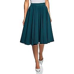oodji Ultra Mujer Falda Midi con Forro de Rejilla, Verde, ES 36 / XS