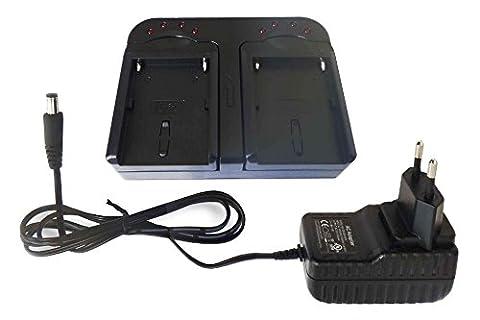 Chargeur rapide vhbw Socle avec deux compartiments et câble allume-cigare pour Sony DCR-TRV270E, DCR-TRV280, DCR-TRV285E,
