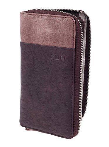 Zwei Eva EV2 Reißverschluss Geldbörse Portemonnaie Geldbeutel Brieftasche, Farbe:Wine (Reißverschluss Zwei Leder)