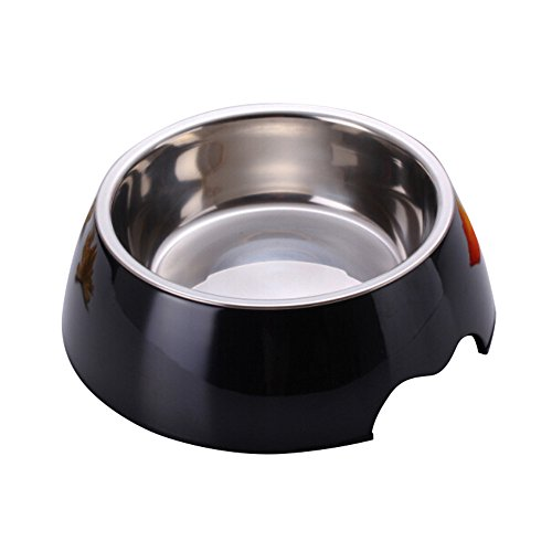 RayLineDo® 2X Small Black 2 in 1 Melamine Plastic Stainless Steel Non Skid Dog Puppy Cat Pet Bowl Pet Feeding Watering Supplies
