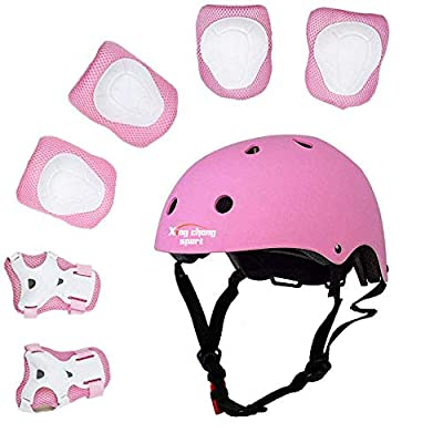 Kids Multi-Sport Helmet with Knee&Elbow Pads and Wrists 7 Pieces Kids Boys and Girls Outdoor Sports Safety Protective Gear Set for Skateboard Cycling Skate Scooter(4-8 Years Old) by XINGCHENGSPORT