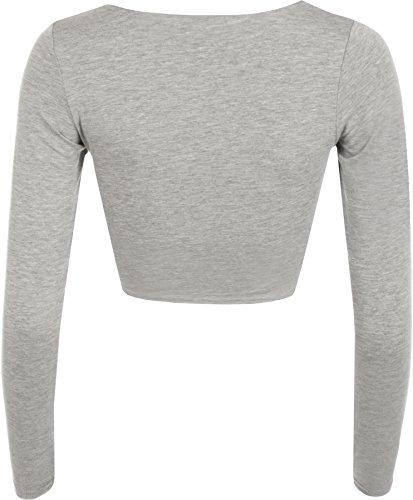 Nuovo Donna Crop T-shirt A Maniche Lunghe Da Donna Corto Semplice Rotondo Collo Canotta 8 - 14 Grigio chiaro