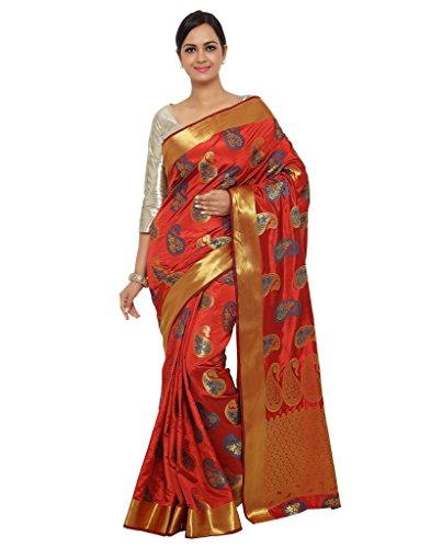 Varkala Silk Sarees Women's Art Silk Banarasi Saree With Blouse Piece(ND1099GJ_Rust_Free Size)