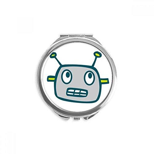 DIYthinker Y universo Alien Grey Robot espejo redondo portable de la mano del maquillaje del bolsillo