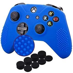 YoRHa Studded Silikon Hülle Abdeckungs Haut Kasten für Microsoft Xbox One X & Xbox One S Controller x 1 (blau) Mit Pro aufsätze thumb grips x 8