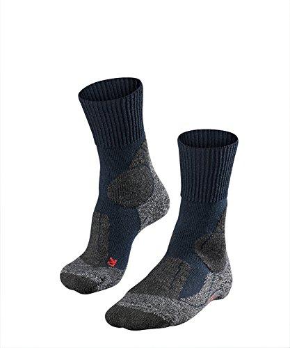 FALKE TK1 Herren Trekkingsocken / Wandersocken - blau, Gr. 44-45, 1 Paar, Merinowolle, extra starke Polsterung, feuchtigkeitsregulierend